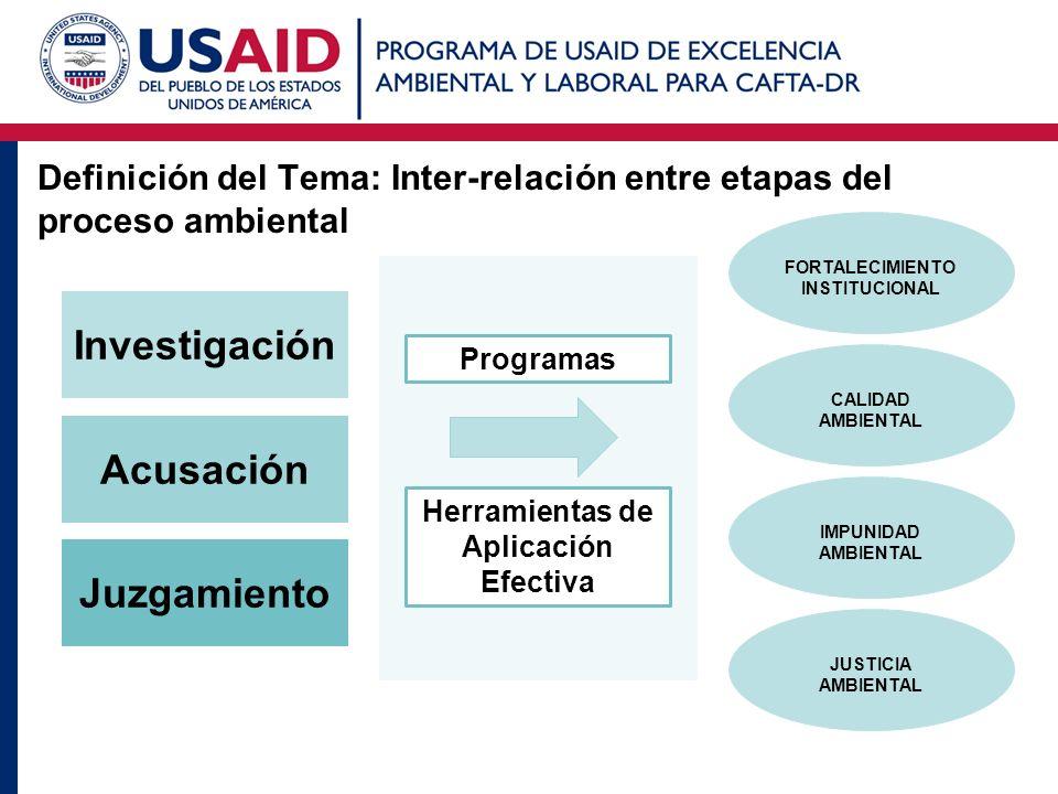 Definición del Tema: Inter-relación entre etapas del proceso ambiental JUSTICIA AMBIENTAL CALIDAD AMBIENTAL IMPUNIDAD AMBIENTAL FORTALECIMIENTO INSTIT