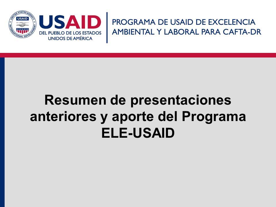 Resumen de presentaciones anteriores y aporte del Programa ELE-USAID