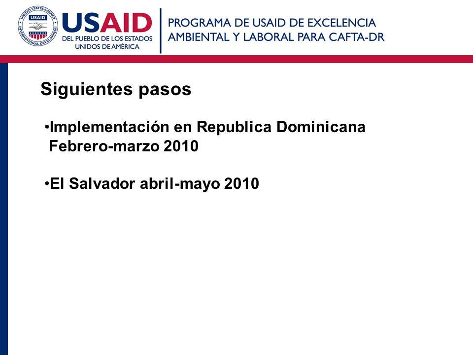 Siguientes pasos Implementación en Republica Dominicana Febrero-marzo 2010 El Salvador abril-mayo 2010