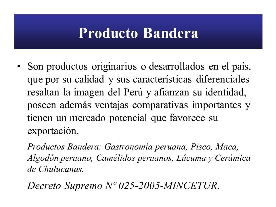 Producto Bandera Son productos originarios o desarrollados en el país, que por su calidad y sus características diferenciales resaltan la imagen del P