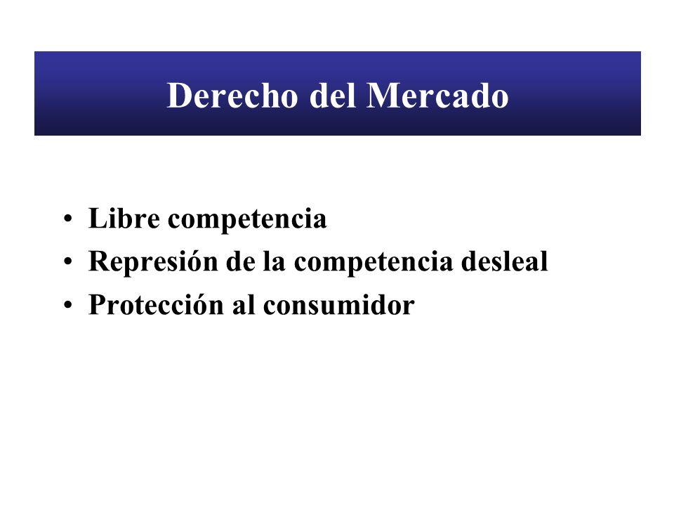 Derecho del Mercado Libre competencia Represión de la competencia desleal Protección al consumidor