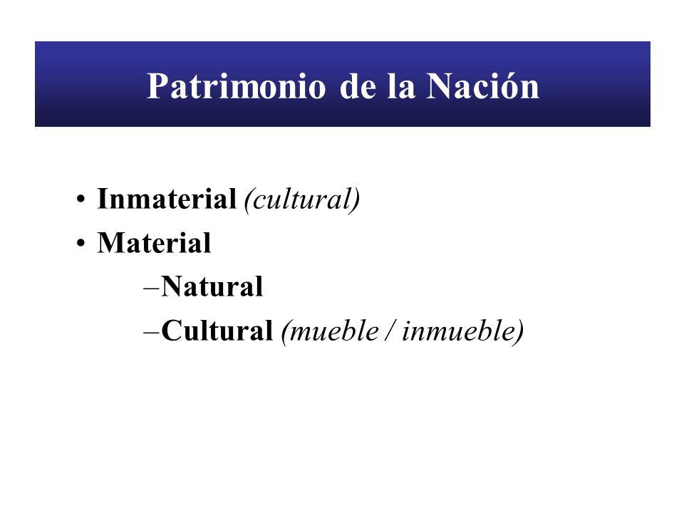 Patrimonio de la Nación Inmaterial (cultural) Material –Natural –Cultural (mueble / inmueble)