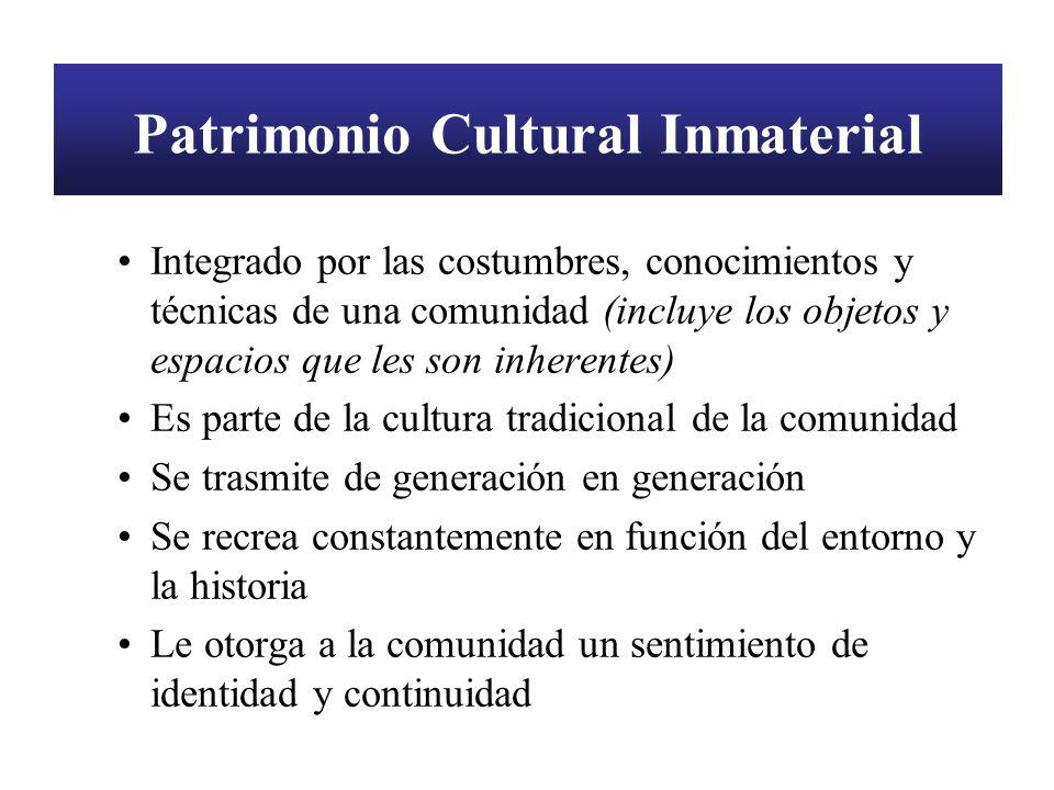 Patrimonio Cultural Inmaterial Integrado por las costumbres, conocimientos y técnicas de una comunidad (incluye los objetos y espacios que les son inh