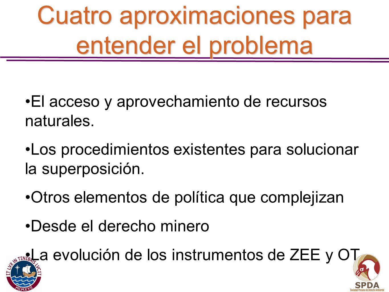 Cuatro aproximaciones para entender el problema El acceso y aprovechamiento de recursos naturales. Los procedimientos existentes para solucionar la su
