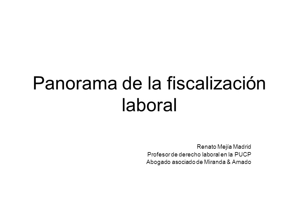 Panorama de la fiscalización laboral Renato Mejía Madrid Profesor de derecho laboral en la PUCP Abogado asociado de Miranda & Amado