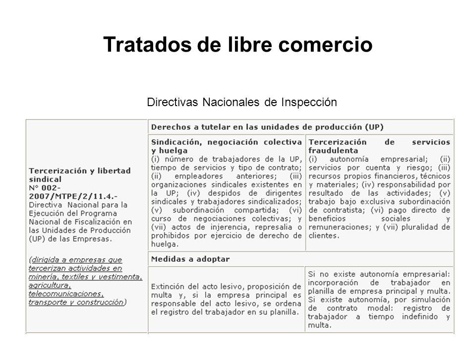 Directivas Nacionales de Inspección Tratados de libre comercio