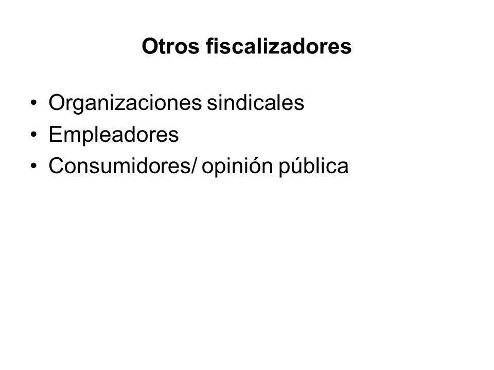 Otros fiscalizadores Organizaciones sindicales Empleadores Consumidores/ opinión pública