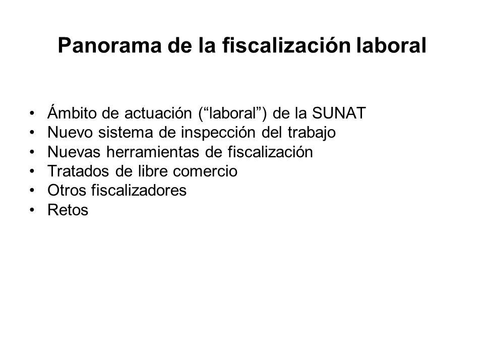 Panorama de la fiscalización laboral Ámbito de actuación (laboral) de la SUNAT Nuevo sistema de inspección del trabajo Nuevas herramientas de fiscaliz