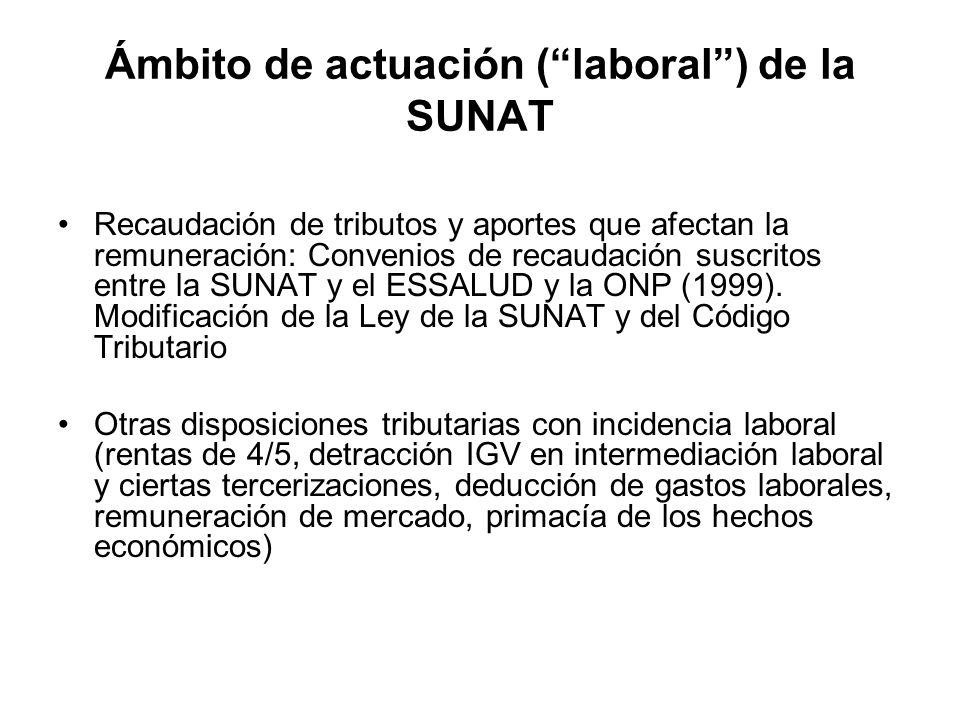 Ámbito de actuación (laboral) de la SUNAT Recaudación de tributos y aportes que afectan la remuneración: Convenios de recaudación suscritos entre la S
