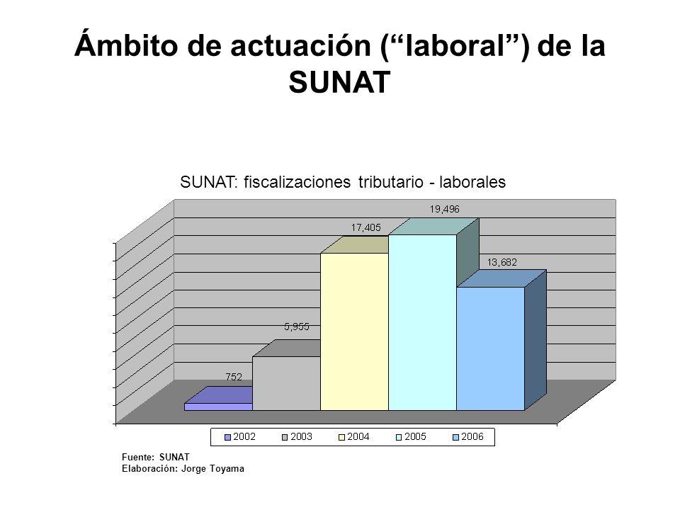 Ámbito común de actuación con el MTPE: la relación laboral, pero con diferentes competencias Convenio de colaboración interinstitucional suscrito entre la SUNAT y el MTPE (2004): privilegia la colaboración en fiscalización Ámbito de actuación (laboral) de la SUNAT