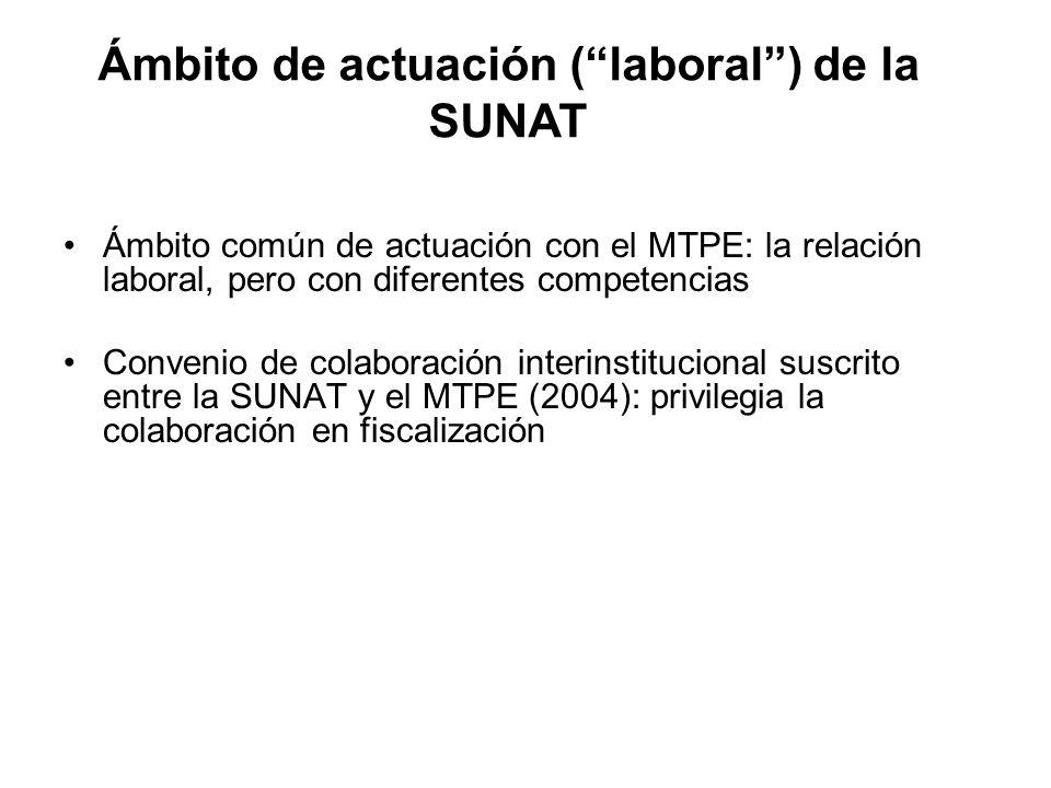 Ámbito común de actuación con el MTPE: la relación laboral, pero con diferentes competencias Convenio de colaboración interinstitucional suscrito entr