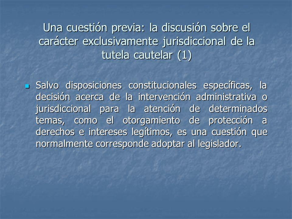 Una cuestión previa: la discusión sobre el carácter exclusivamente jurisdiccional de la tutela cautelar (1) Salvo disposiciones constitucionales espec