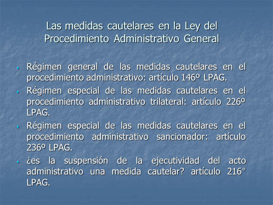 Las medidas cautelares en la Ley del Procedimiento Administrativo General Régimen general de las medidas cautelares en el procedimiento administrativo