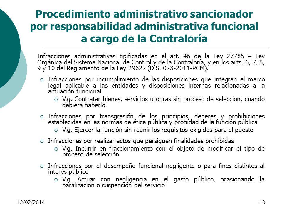 13/02/201410 Procedimiento administrativo sancionador por responsabilidad administrativa funcional a cargo de la Contraloría Infracciones administrati