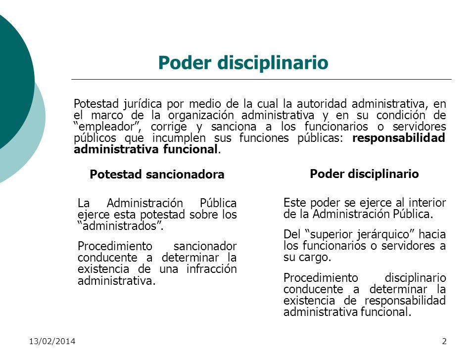13/02/20142 Poder disciplinario Potestad jurídica por medio de la cual la autoridad administrativa, en el marco de la organización administrativa y en