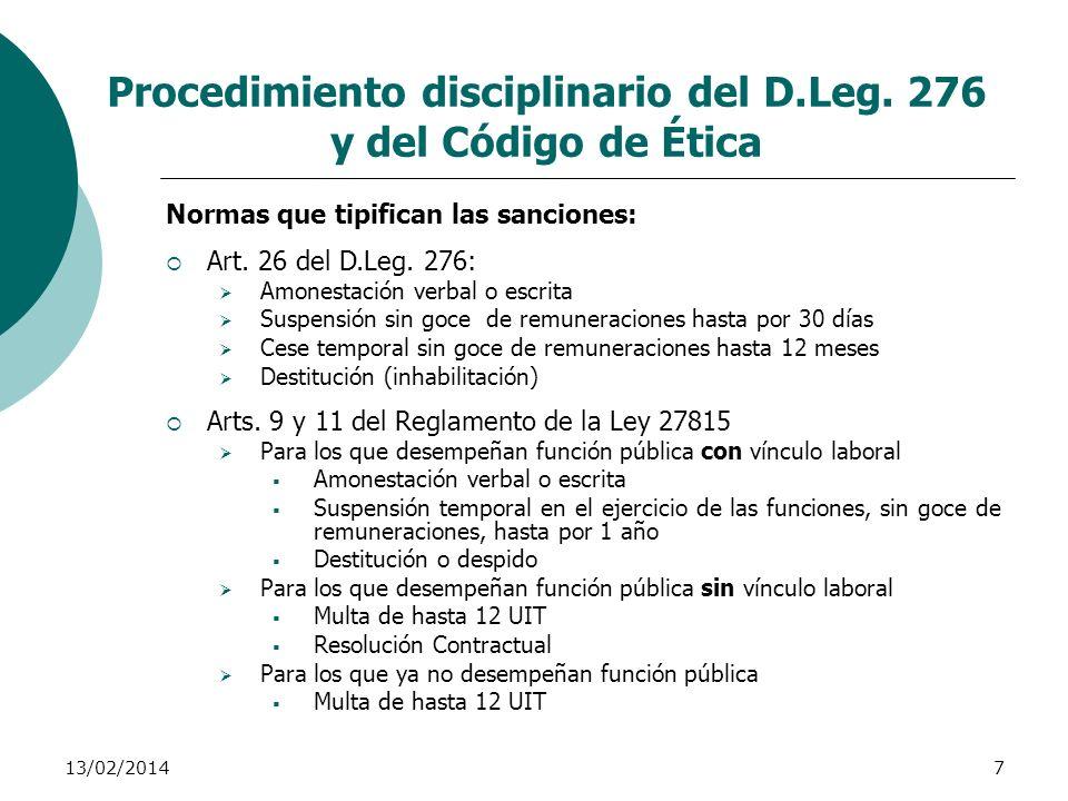 13/02/20147 Procedimiento disciplinario del D.Leg. 276 y del Código de Ética Normas que tipifican las sanciones: Art. 26 del D.Leg. 276: Amonestación
