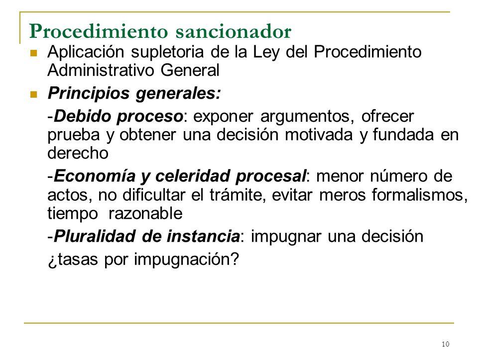 10 Procedimiento sancionador Aplicación supletoria de la Ley del Procedimiento Administrativo General Principios generales: -Debido proceso: exponer a