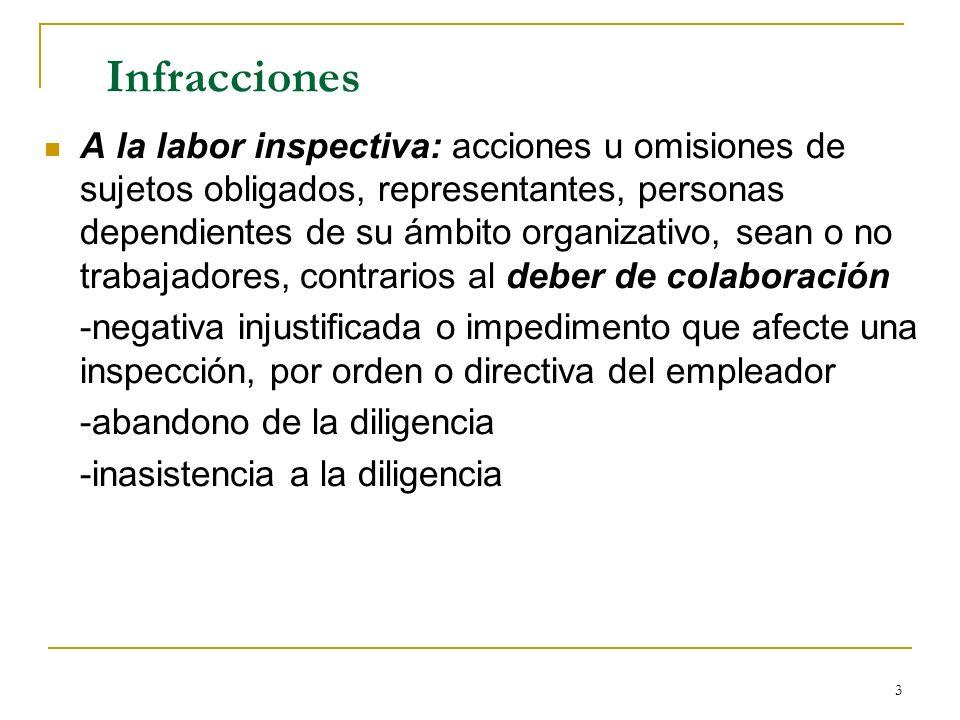 3 Infracciones A la labor inspectiva: acciones u omisiones de sujetos obligados, representantes, personas dependientes de su ámbito organizativo, sean