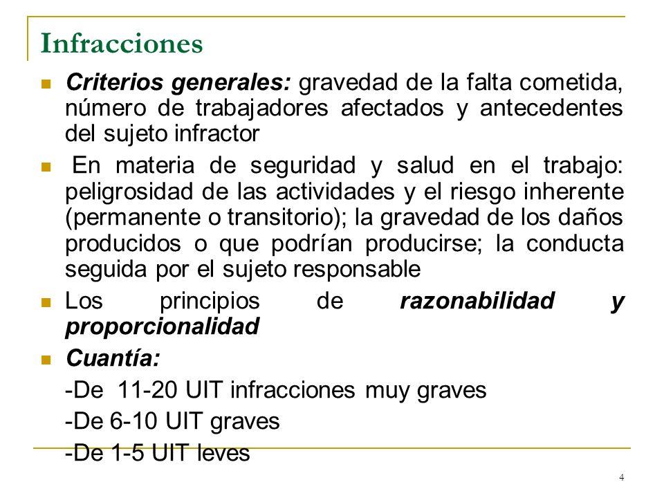 4 Infracciones Criterios generales: gravedad de la falta cometida, número de trabajadores afectados y antecedentes del sujeto infractor En materia de