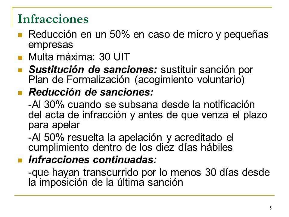 5 Infracciones Reducción en un 50% en caso de micro y pequeñas empresas Multa máxima: 30 UIT Sustitución de sanciones: sustituir sanción por Plan de F