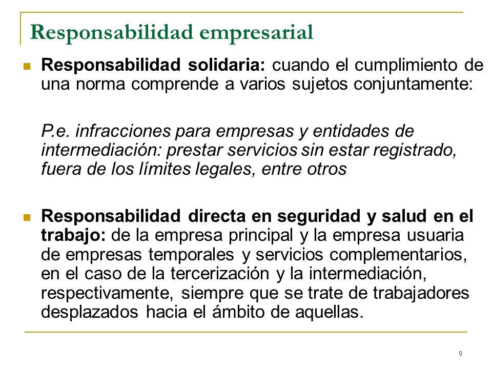 9 Responsabilidad empresarial Responsabilidad solidaria: cuando el cumplimiento de una norma comprende a varios sujetos conjuntamente: P.e. infraccion