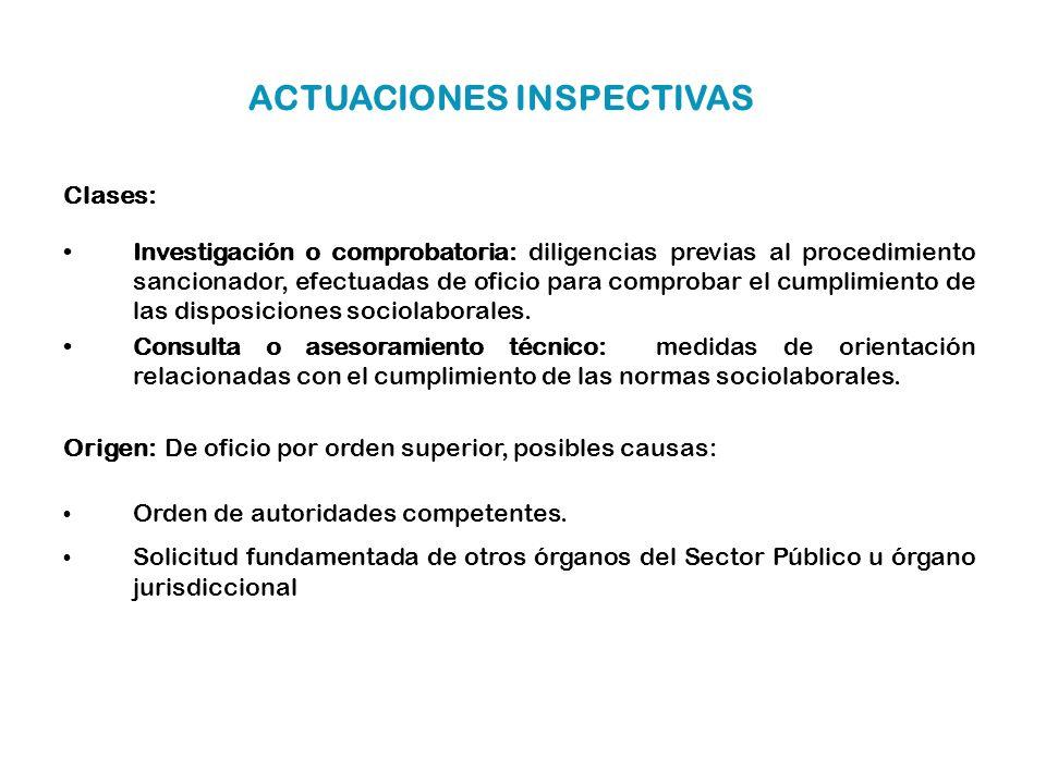 ACTUACIONES INSPECTIVAS Clases: Investigación o comprobatoria: diligencias previas al procedimiento sancionador, efectuadas de oficio para comprobar e