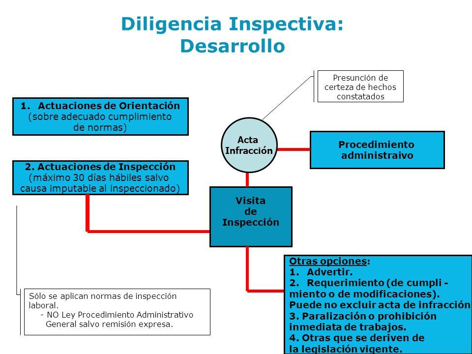 1.Actuaciones de Orientación (sobre adecuado cumplimiento de normas) 2. Actuaciones de Inspección (máximo 30 días hábiles salvo causa imputable al ins