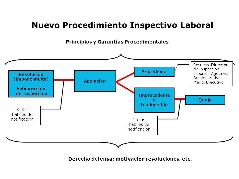 3 días hábiles de notificación Derecho defensa; motivación resoluciones, etc. Principios y Garantías Procedimentales Nuevo Procedimiento Inspectivo La