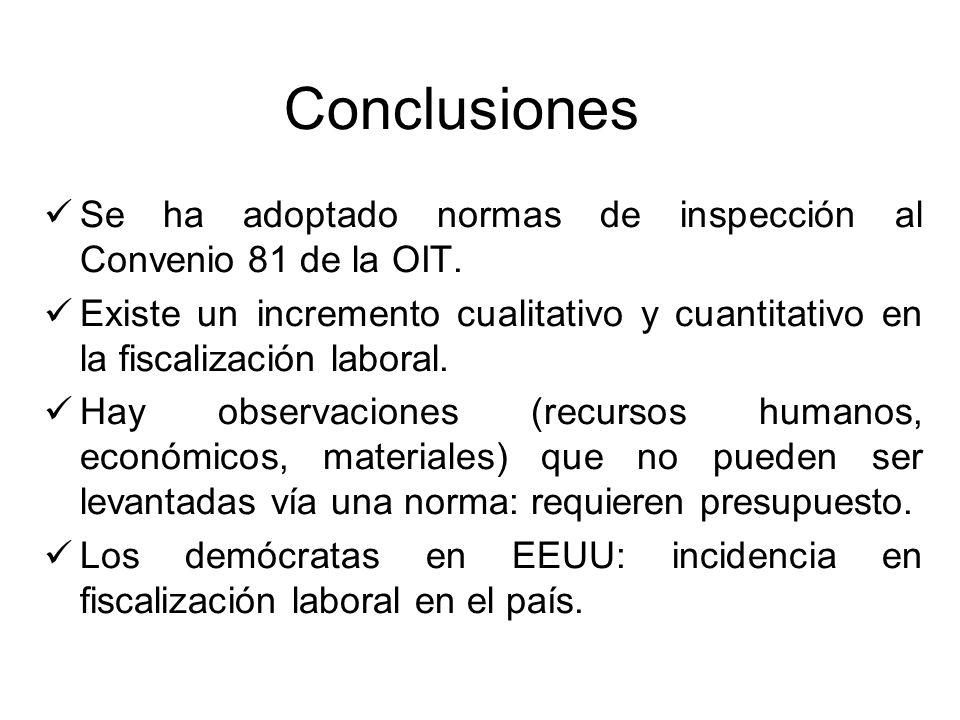 Conclusiones Se ha adoptado normas de inspección al Convenio 81 de la OIT. Existe un incremento cualitativo y cuantitativo en la fiscalización laboral