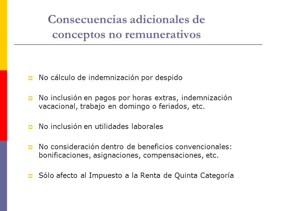 Consecuencias adicionales de conceptos no remunerativos No cálculo de indemnización por despido No inclusión en pagos por horas extras, indemnización