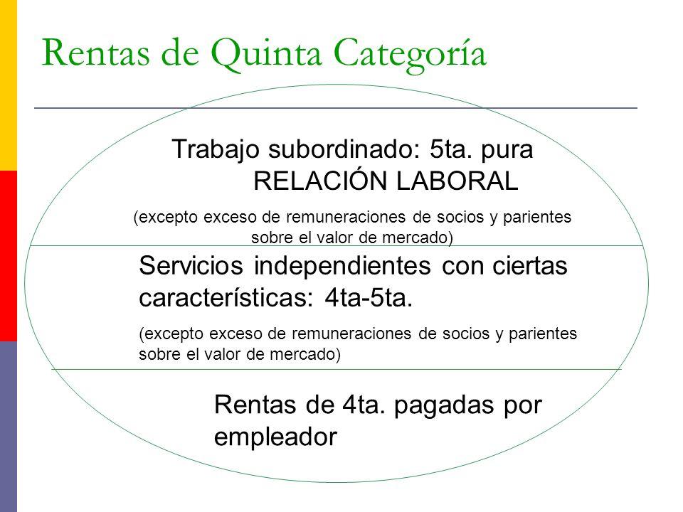 Rentas de Quinta Categoría Trabajo subordinado: 5ta. pura RELACIÓN LABORAL (excepto exceso de remuneraciones de socios y parientes sobre el valor de m