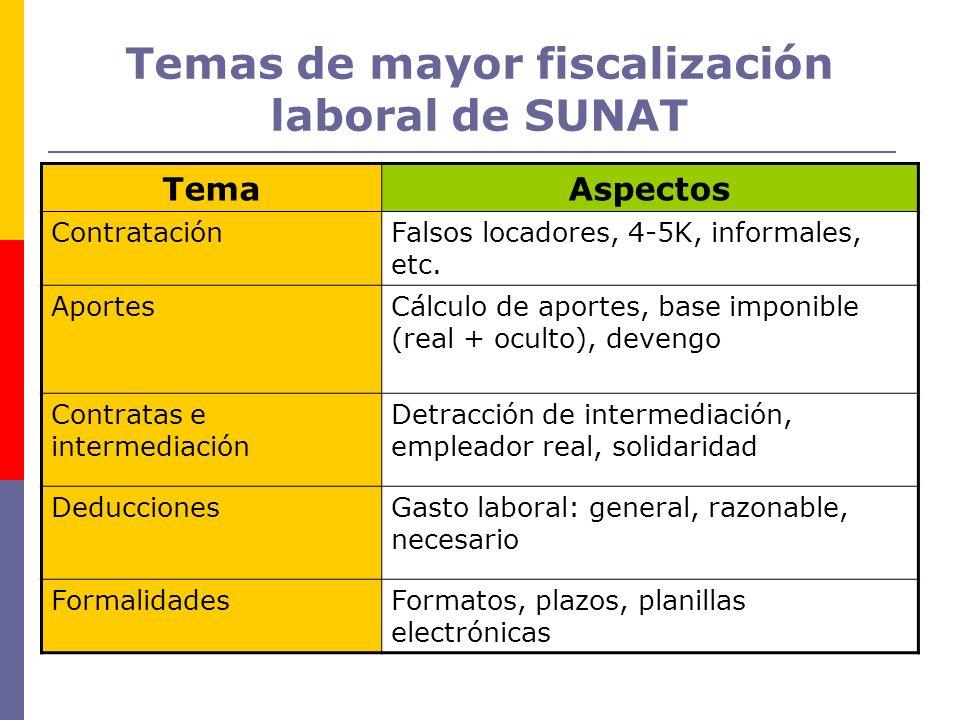 Temas de mayor fiscalización laboral de SUNAT TemaAspectos ContrataciónFalsos locadores, 4-5K, informales, etc. AportesCálculo de aportes, base imponi
