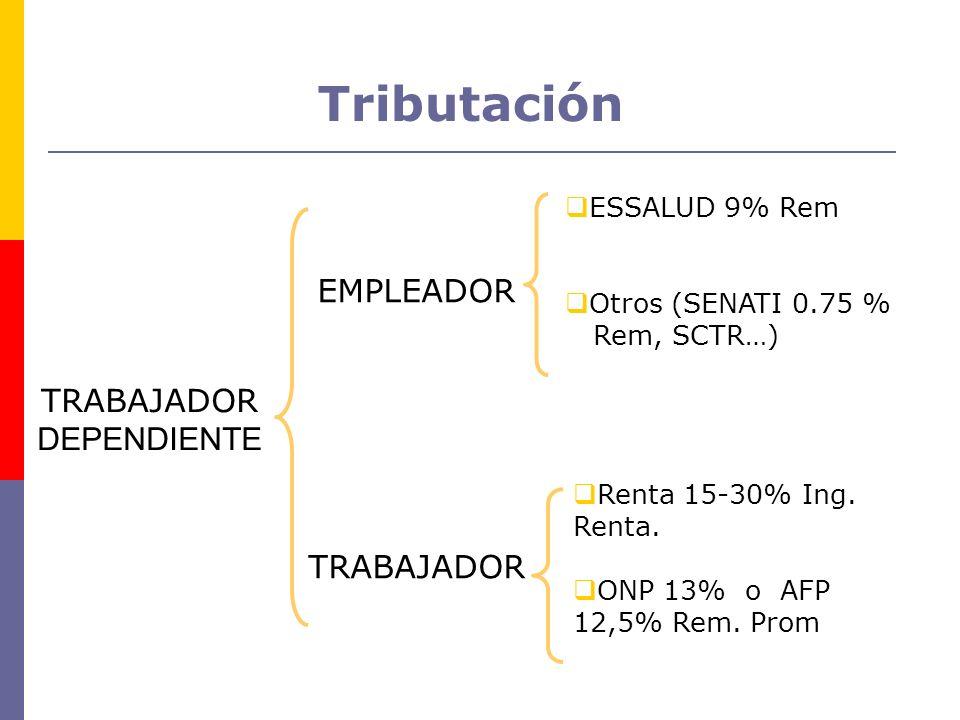 Tributación TRABAJADOR DEPENDIENTE EMPLEADOR TRABAJADOR ESSALUD 9% Rem Otros (SENATI 0.75 % Rem, SCTR…) Renta 15-30% Ing. Renta. ONP 13% o AFP 12,5% R
