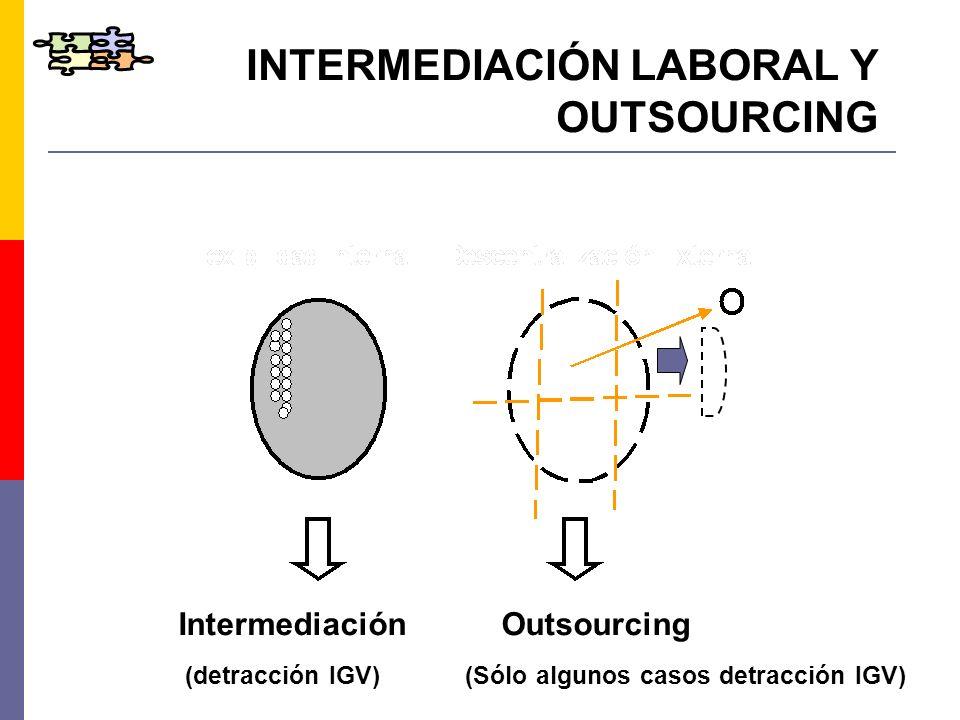 INTERMEDIACIÓN LABORAL Y OUTSOURCING Intermediación Outsourcing (detracción IGV) (Sólo algunos casos detracción IGV)