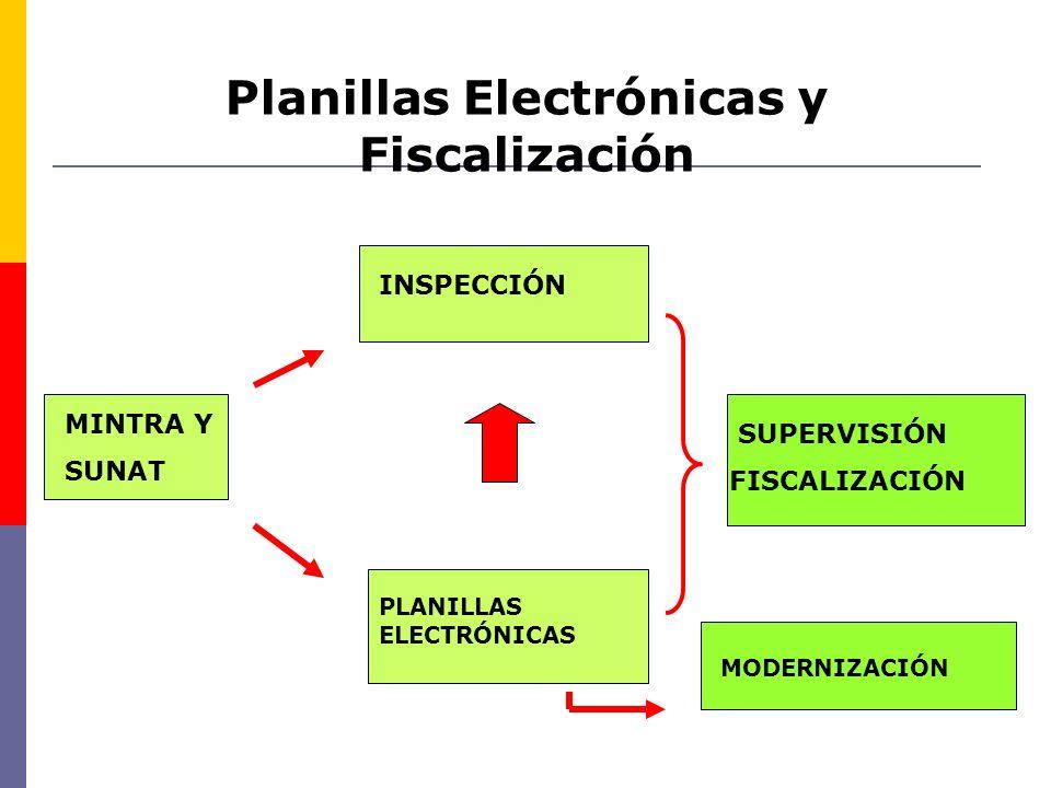 Planillas Electrónicas y Fiscalización SUPERVISIÓN FISCALIZACIÓN MINTRA Y SUNAT INSPECCIÓN PLANILLAS ELECTRÓNICAS MODERNIZACIÓN