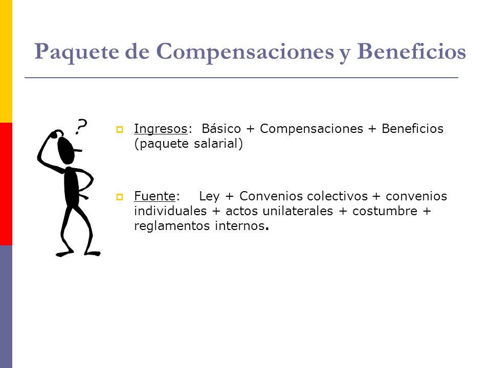 Paquete de Compensaciones y Beneficios Ingresos: Básico + Compensaciones + Beneficios (paquete salarial) Fuente: Ley + Convenios colectivos + convenio