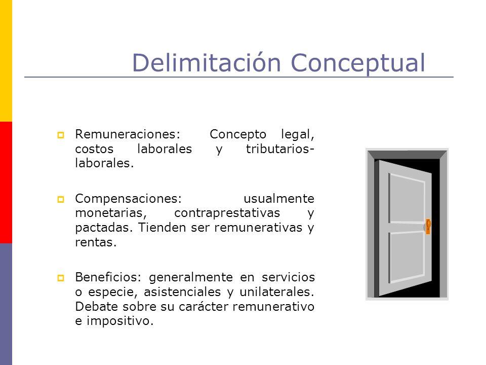 Delimitación Conceptual Remuneraciones: Concepto legal, costos laborales y tributarios- laborales. Compensaciones: usualmente monetarias, contrapresta