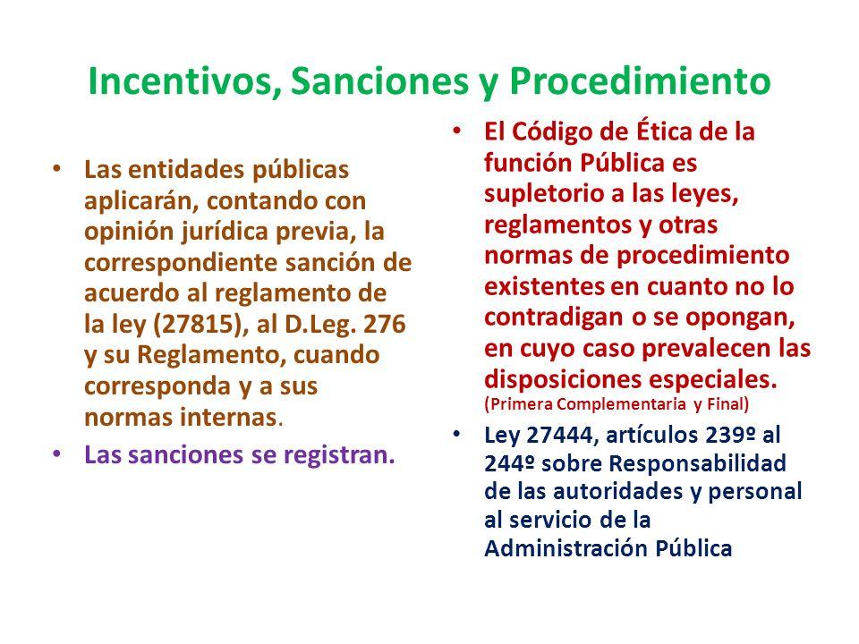 Incentivos, Sanciones y Procedimiento La transgresión a principios y deberes, genera responsabilidad pasible de sanción. (10º) El reglamento establece