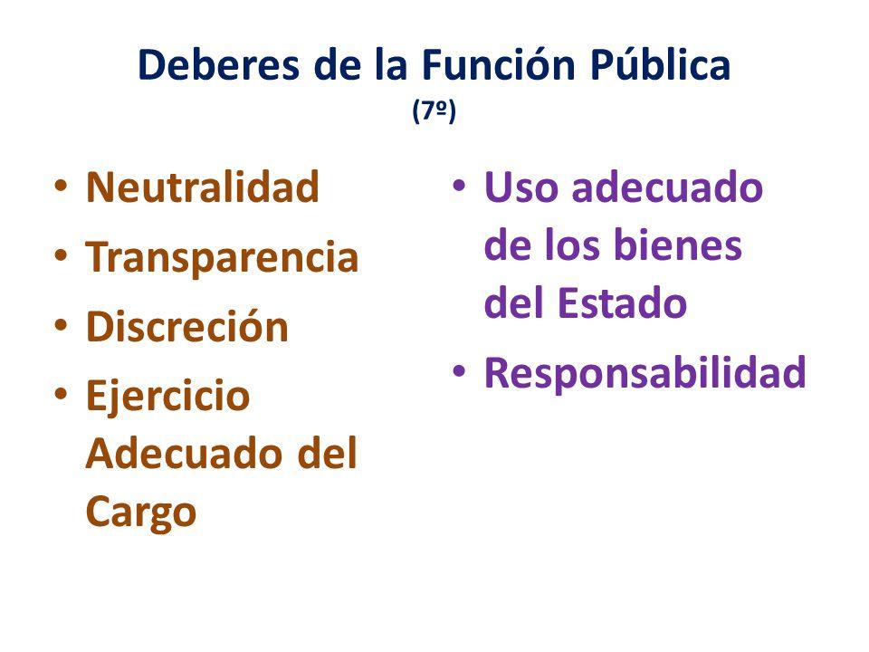 Principios de la Función Pública (art. 6º) Respeto Probidad Eficiencia Idoneidad Veracidad Lealtad y Obediencia Justicia y Equidad Lealtad al estado d