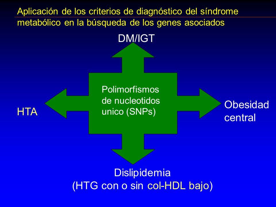 Aplicación de los criterios de diagnóstico del síndrome metabólico en la búsqueda de los genes asociados Dislipidemia (HTG con o sin col-HDL bajo) Pol