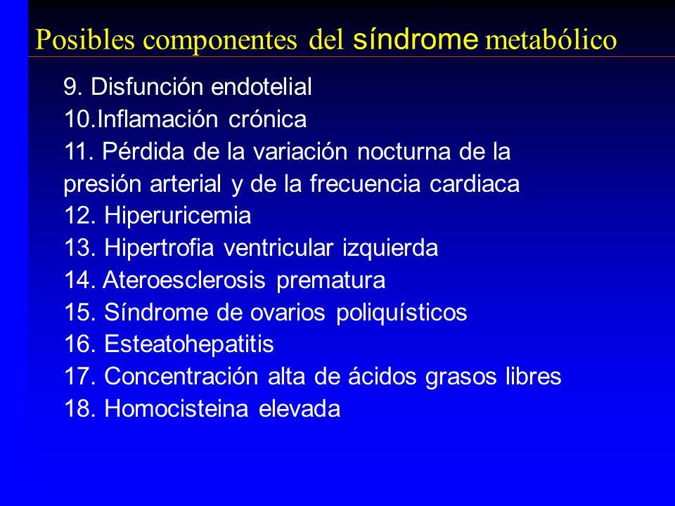 9. Disfunción endotelial 10.Inflamación crónica 11. Pérdida de la variación nocturna de la presión arterial y de la frecuencia cardiaca 12. Hiperurice