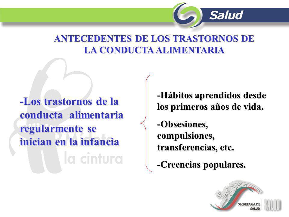 ANTECEDENTES DE LOS TRASTORNOS DE LA CONDUCTA ALIMENTARIA -Los trastornos de la conducta alimentaria regularmente se inician en la infancia -Hábitos a