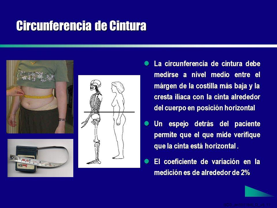 GDS_em0311846_D_v5 11 Circunferencia de Cintura La circunferencia de cintura debe medirse a nivel medio entre el márgen de la costilla más baja y la cresta ilíaca con la cinta alrededor del cuerpo en posición horizontal La circunferencia de cintura debe medirse a nivel medio entre el márgen de la costilla más baja y la cresta ilíaca con la cinta alrededor del cuerpo en posición horizontal Un espejo detrás del paciente permite que el que mide verifique que la cinta está horizontal.