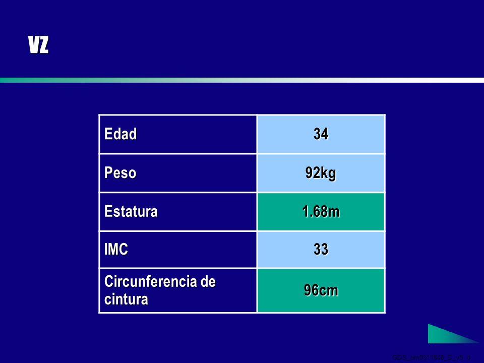 GDS_em0311846_D_v5 5 VZ Presión sanguínea 140/90 Colesterol total 5.6 mmol/L Colesterol HDL 0.9 mmol/L Glucosa 6.1 mmol/L