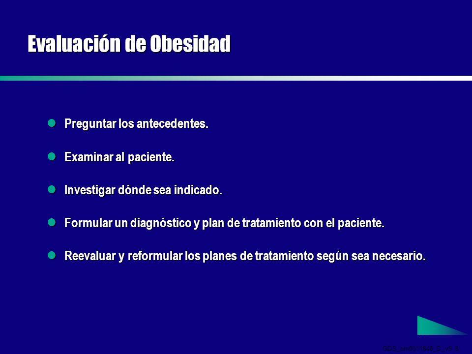 GDS_em0311846_D_v5 6 Evaluación de Obesidad Preguntar los antecedentes.