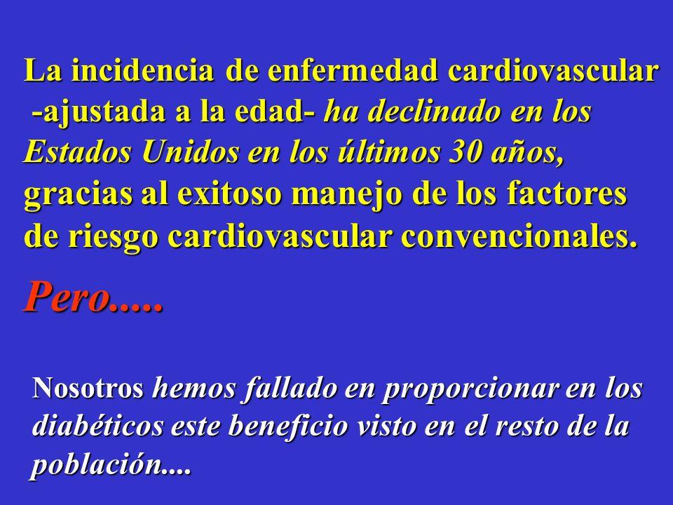 Mortalidad Cardiovascular y Diabetes Stamler et aldiabetes care; (1993); 16:434-444 0 20 40 60 80 100 120 140 Ninguno Solo 1Solo 2 Todos 3 Diabéticos