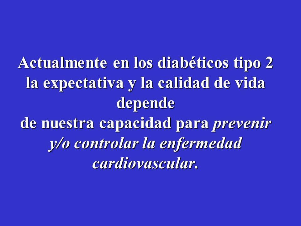 Una vez que los diabéticos tienen CAE, el pronóstico es peor.... El 75% de las admisiones hospitalarias del paciente con diabetes son por eventos card