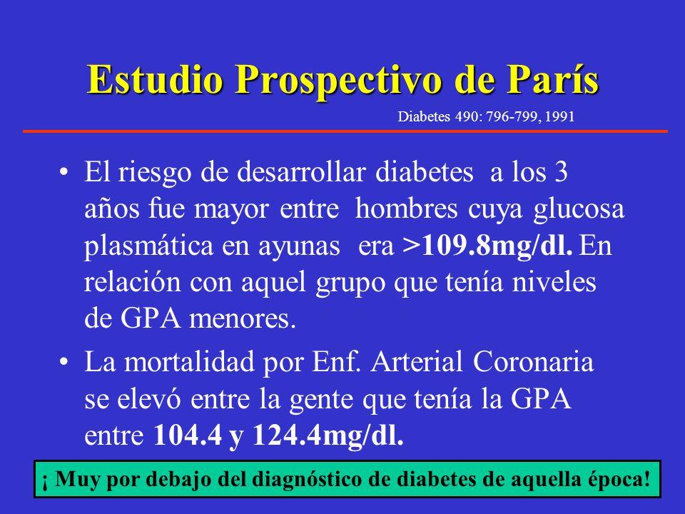 ¿Niveles de glucosa en ayunas <126mg/dl son normales ? Diabetes Care 23:34-39, 2000 ¿ Este nivel corresponde al riesgo cardiovascular ? Numerosos estu