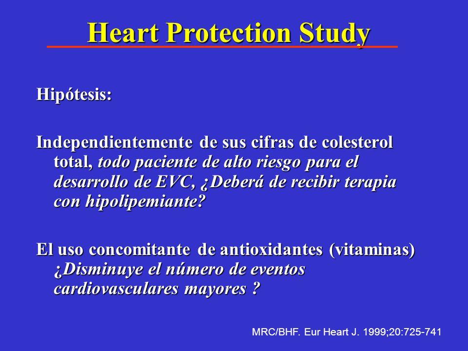 Heart Protection Study Existen evidencias absolutas en el paciente con Cardiopatía isquémica que la reducción del colesterol total reduce la incidenci