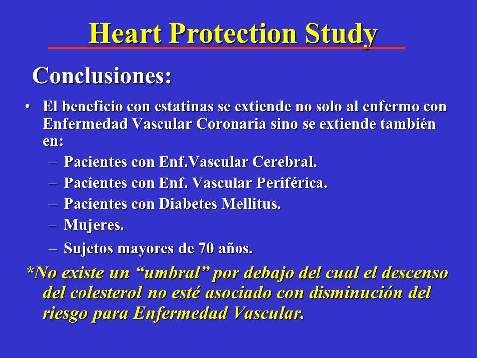Simvastatina: Complicaciones Macrovasculares Subgrupo Diabetes Reducción de 20% (el valor de Hb1ac + ó - de 7% no modificó resultados) STATIN worse Ev